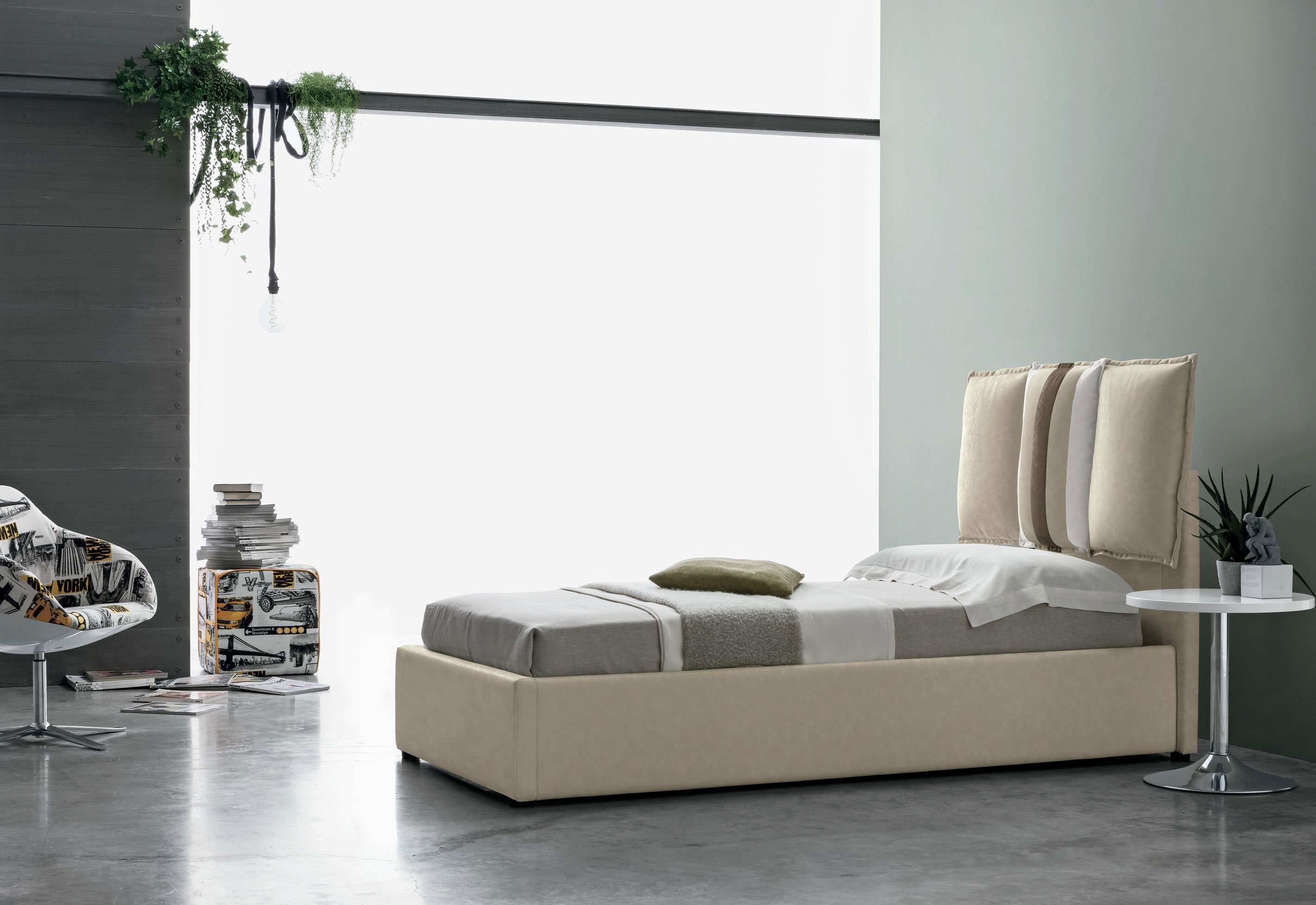 beige bed with small height legs comfy cushioned headboard, fabric beige bed modern for small space, single bed, krevati ifasmatino me maxilaria sto piso meros tou me xamila podia,