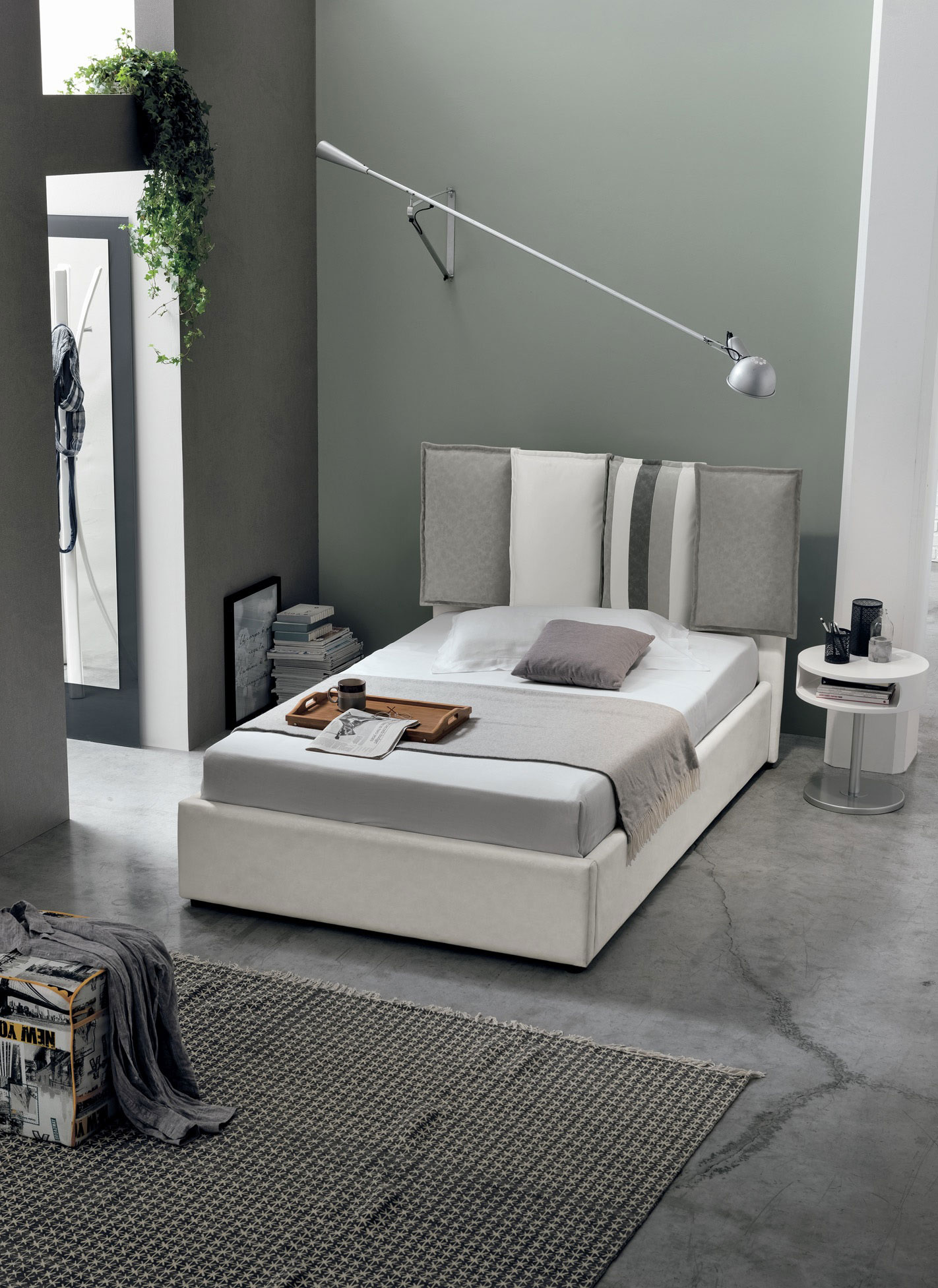 white leather low bed  with cushions at the back, comfy cushions on the headboard, colorful modern bed low with no legs, double bed low in height, xamilo diplo krevati aspro dermatino me maxilaria stin kefalaria,