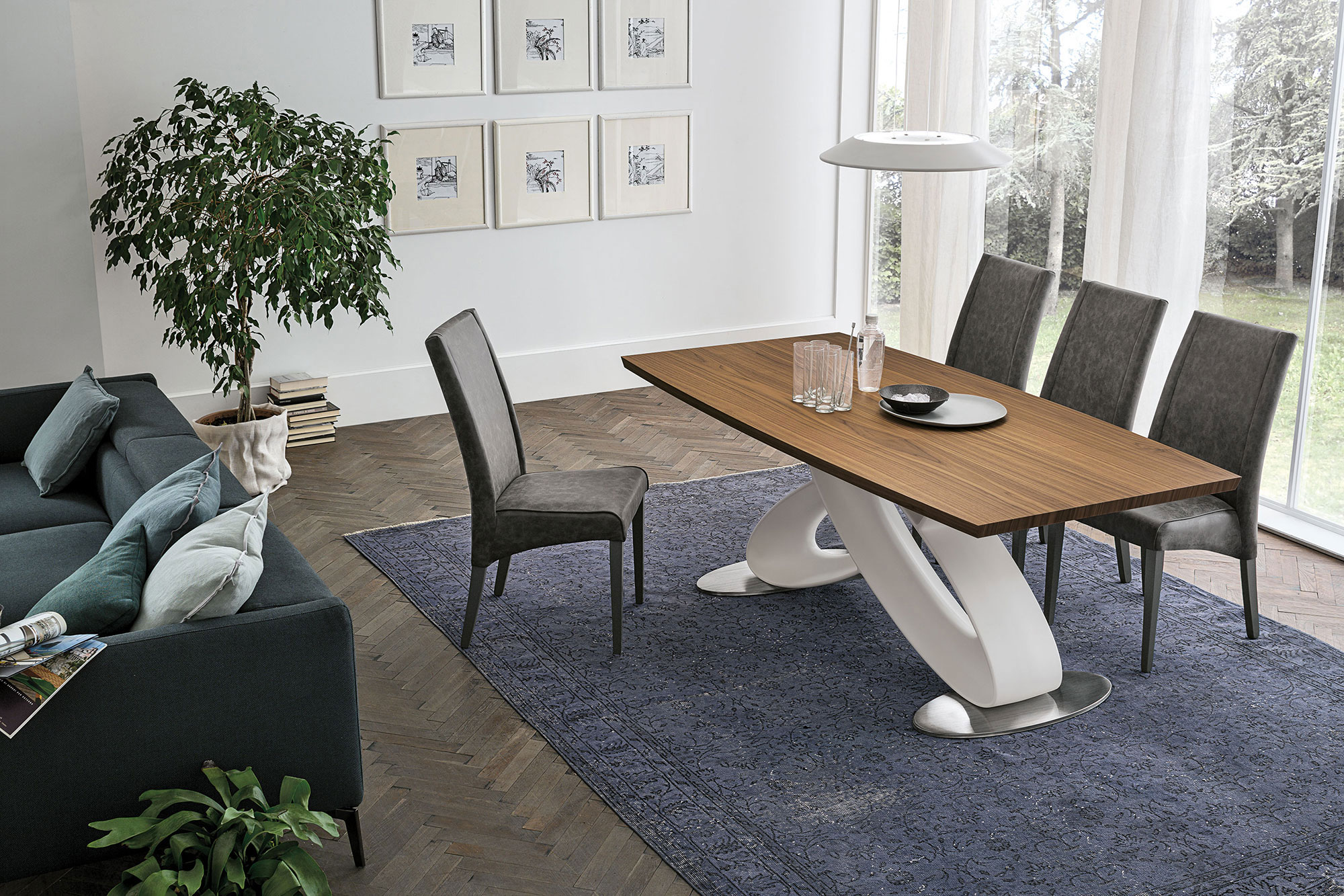 table, modern table, wooden table, white legs,  trapezi, chairs, grey chairs, karekles, accessories, dining table, kitchen table, andreotti, andreotti furniture, epipla, furniture, limassol, cyprus