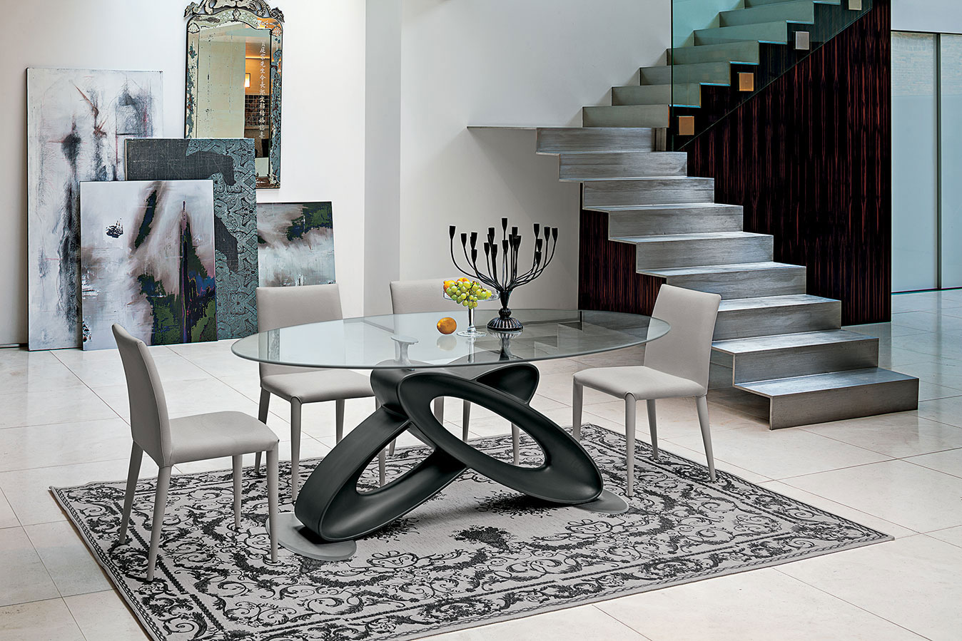 table, modern table,round table,glass table,  trapezi, chairs, karekles, dining table, kitchen table, andreotti, andreotti furniture, epipla, furniture, limassol, cyprus