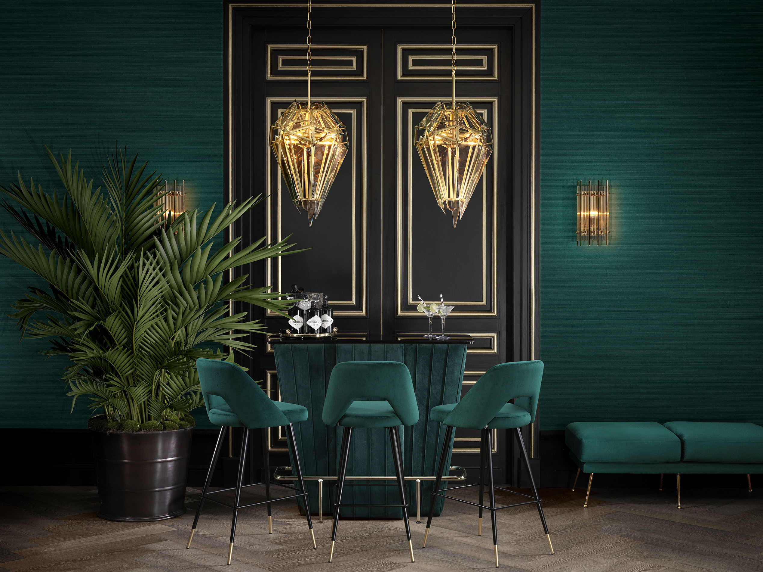 green velvet bar table with matching fabrics barstools with black and gold legs, mpar me idiou ifasmatous stools me mavra kai xrisa podia,