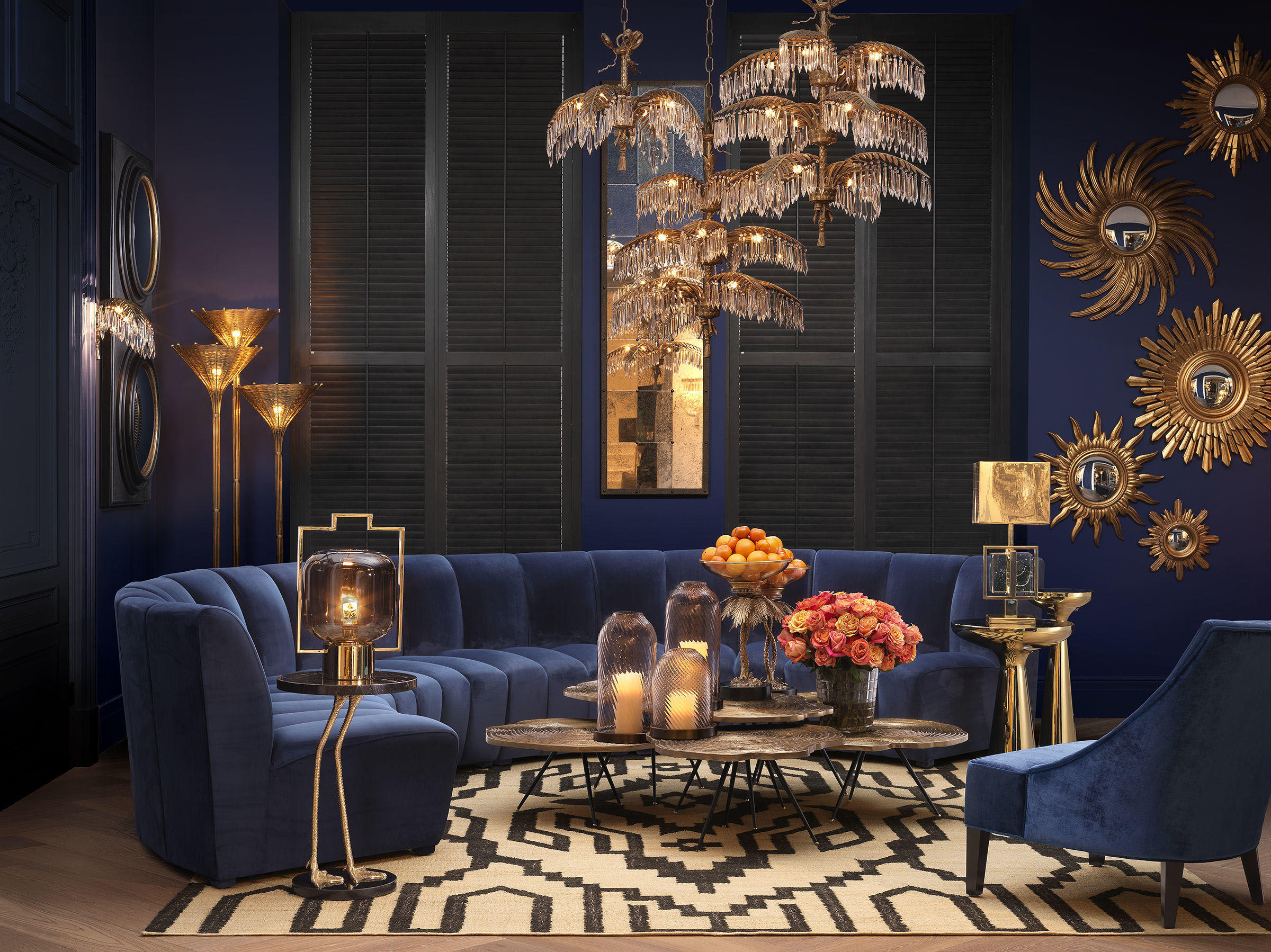 mple velvet sofa circular shape with gold details, modern luxury blue gold living set, sofa with no legs, kanapes mple me xrisa accessories,