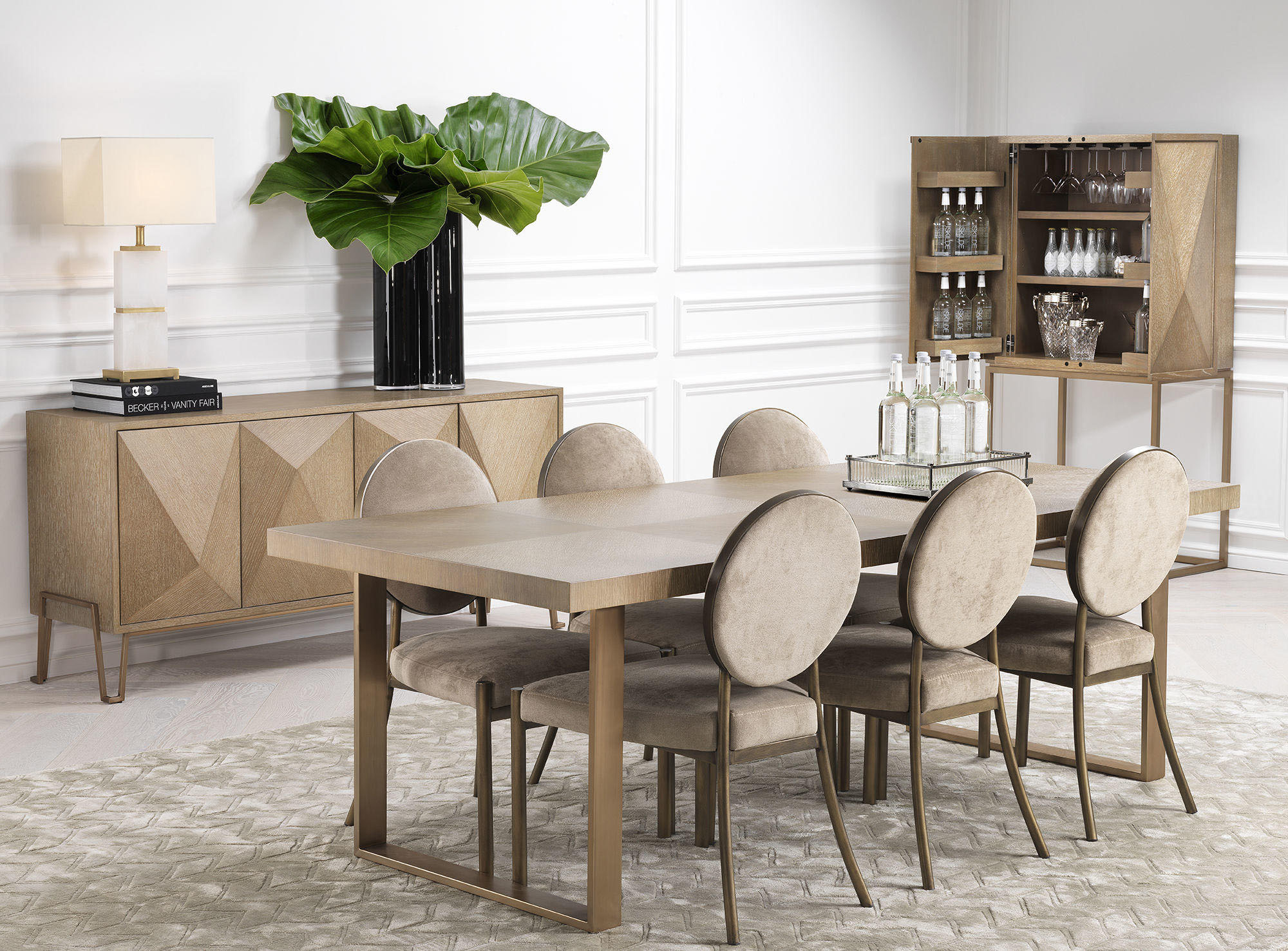 dinning set, luxury dinning table with beige velvet dinning chairs with its matching console and bookcase,